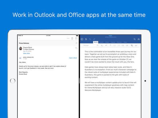 Screenshots of Outlook