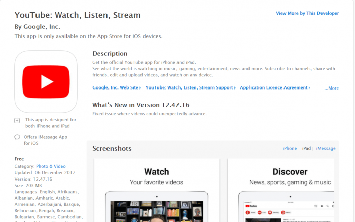 Download YouTube for iPad