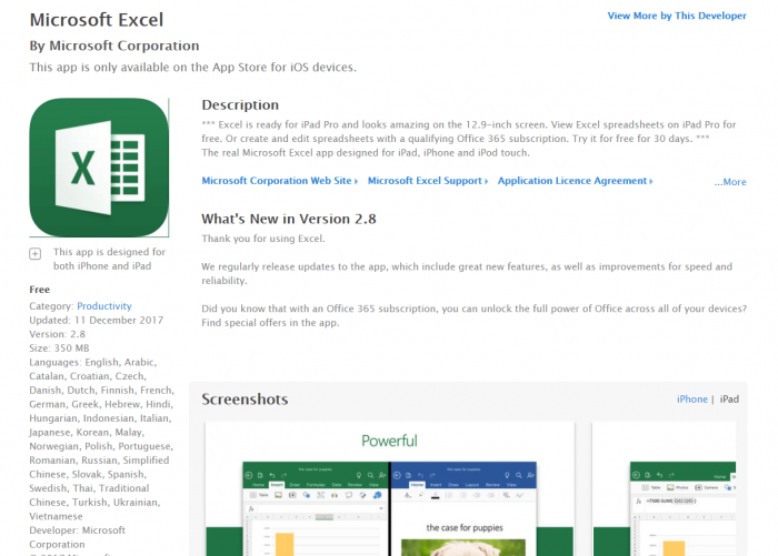 Download MS Excel for iPad